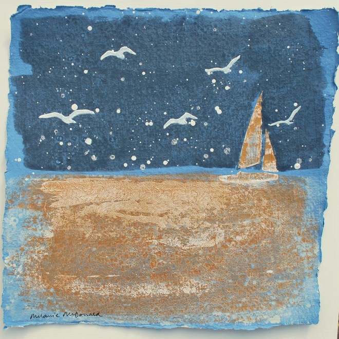 Evening sail and gulls, St. Mawes