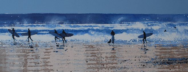 Surfers and Sea Spray, North Cornwall.