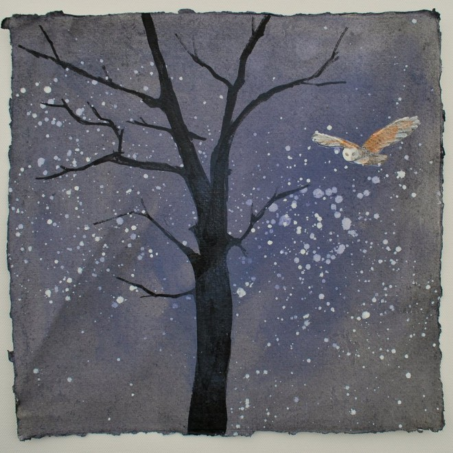 Winter Owl and Stars